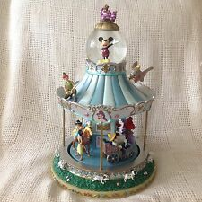 RARE Disney Mickey Alice WORLD OF CAROUSEL Musical Rotating Snow Globe-MIB-HTF