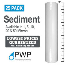 25 Pack 10x2.5 Sediment Water Filter Cartridge Spun Poly REVERSE OSMOSIS 5 Mic.