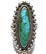ANTIQUE SOUTHWESTERN OLD PAWN STERLING SILVER & TURQUOISE RING SIZE 7.25