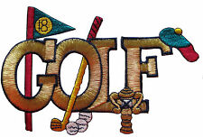 "5"" Embroidery Iron On Golf Clubs and Golden Golf word Applique Patch"