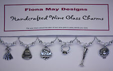 Wine Glass Charm Rings JUST MARRIED WEDDING TOP TABLE - with Swarovski Crystals