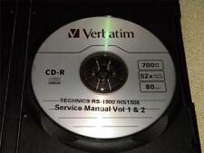 TECHNICS RS-1500 /RS1506US SERVICE MANUAL VOL 1 & 2 ON A CD IN A HARD CASE