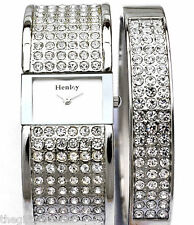 Henley Ladies Sparkly Real Crystals Watch & Silver Tone Bangle Womens Gift Set