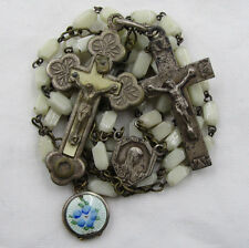 "† RELIC 'ST CATHERINE LABOURE"" CRUCIFIX & ""GUILLOCHE"" LOCKET ON VINTAGE ROSARY †"