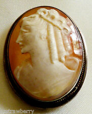 vtg Sterling Silver 925 Young Pretty Women Lady Cameo Pin Brooch / pendant combo