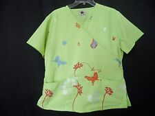 Black Star Womens Size Small Green Scrub Top Embroidered Butterflies Tie Back