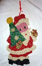 "Vtg CHRISTMAS DECORATION Melted Plastic Popcorn 18"" SANTA w/TREE VGC"