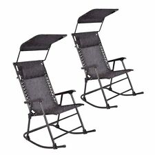 2 TWO  Folding Rocking Chair Porch Patio Indoor Rocker With Canopy & Headre