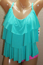 *NEW Kenneth Cole Teal Solid Assymetric Tiered Tankini Top Plus 1X #F283