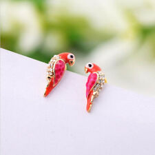 Fashion Style Crystal Earrings Women Loverly Animal Red Bird Ear Stud Earrings