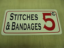 STITCHES & BANDAGES Metal Sign Hockey Club Beer Stick Skates Boxing Bar Pool Gym