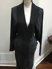 McQ Alexander McQueen Grey Black Knit Belted Sweater Dress Sz M $665 No Belt