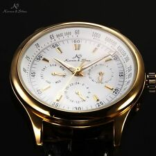 New KS Men's Luxury Gold White Automatic Mechanical Leather Date Day Wrist Watch