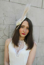 Ivory Cream Bleached Peacock Feather Fascinator Headpiece Hat Vintage 1940s Y72