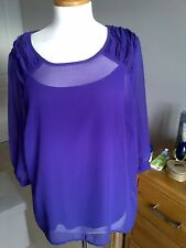Ladies Per Una Purple Sheer Top With Separate Cami Top Size 16