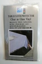 "Pure Vinyl Tablecloth Protector Clear as Glass Size 54"" X 54"" Square"