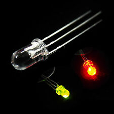 5 x 3mm Dual Bi-Color Red Green Bright 3-Pin Clear bulb LED Common Anode