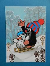 KLEINE MAULWURF PAULI Postkarte mit Schneemann auf Schlitten NEU AK PK  Miler