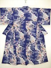 """Kimono japonés Furisode/Boda Azul Marino Seda Crepe """"Sakura, ventiladores, Phoenix' 1 Tamaño"""