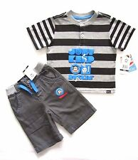 Paul Frank 18M Toddler Little Boys 2-Piece Pewter Gray Short Set MSRP: $39