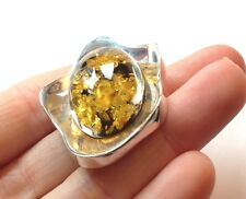 Golden Gorgeous Baltic Sea Amber and Sterling Silver 925 Brooch Pin