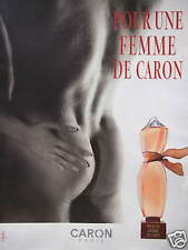 PUBLICITÉ PAPIER 2001 POUR UNE FEMME DE CARON - ADVERTISING - HOMME NU