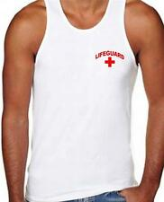 Printed men's Lifeguard beach Mens t-shirt safety Pool Staff TANK TOP RED WHITE