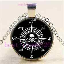 Compass Rose Skull Cabochon Glass Tibet Silver Chain Pendant Necklace