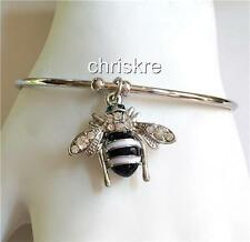 Silver Bumble Bee Bangle Bracelet Adjustable White Enamel Crystal Charm USSeller