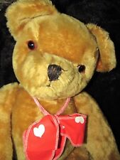 "ANTIQUE RARE EYES VINTAGE PEDIGREE IRELAND BIG 28"" GROWLER TEDDY BEAR  EAR BELL"