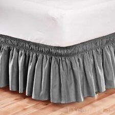 Elastic Bed Skit Dust Ruffle Easy Fit Wrap Around Gray Color King Size