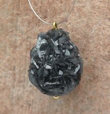 BEAUTIFUL 18k GOLD DRUSY RUSSIAN STIBNITE IN CALCITE CHARM PENDANT 2grams