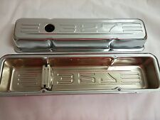 "SB CHEVY BAFFLED CHROME VALVE COVERS SHORT WITH 327 ""LOGO"" 283,305,327,350"