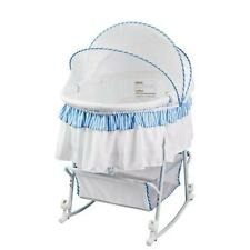 Dream On Me Lacy Protable 2 in 1 Bassinet and Cradle, Blue/White New