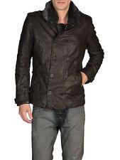 Diesel langgai oscuro marrón cuero chaqueta Talla Xxl 100% Auténtico