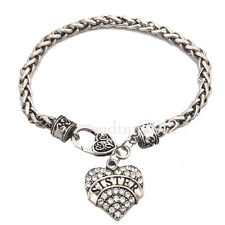 Sister Sis Heart Charm Clear Crystal Silver Bracelet Jewelry Friendship Gift