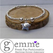 Sterling Silver Oval and round beaded Star & Heart  Stretch Stacking Bracelet