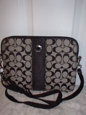 NWT Coach Signature Stripe Tablet Crossbody Ipad  Messenger Bag 63219 Black
