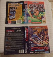SEGA MEGA-DRIVE CASE COVER ARTWORK ONLY ** STREETS OF RAGE & CHUCK ROCK ** USED
