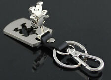 High Quality Leather Metal Car Logo KeyChain Key Ring For Peugeot