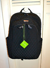 NWT $129 Vera Bradley Large Laptop Backpack in Classic Black Quilted Fabric