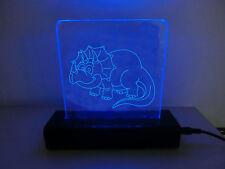 LAMPADA ABATJOUR PEXIGLASS DESIGN LED BLU LOGO DINOSAURO JURASSIC PARK 2 CARTONE