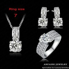 18K WHITE GOLD FILLED NECKLACE EARRINGS RING SET MADE WITH  SWAROVSKI CRYSTALS A