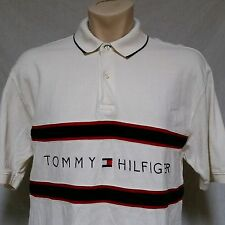 VTG Tommy Hilfiger Polo Shirt 90's Spell Out Flag Colorblock Rugby Lotus Mens XL