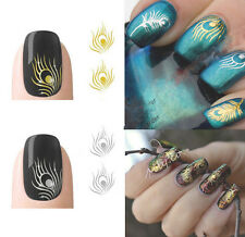 New Gold Silver Peacock Feather Nail Stickers Decals Nail Art Tip Decoration