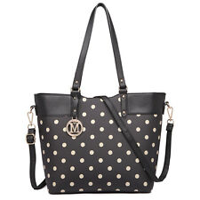 Ladies Polka Dot Faux Leather Tote Shoulder Bags Fashion Satchel Handbags Black