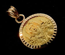 Solid 22 Karat Gold Christ Coin Byzantine Icon Pendant 14Karat Diamond cut Bezel