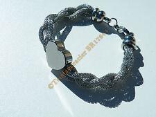Bracelet Femme Pur Acier Inoxydable Trio Serpentine Tréssé Torsadé Coeur 19 cm