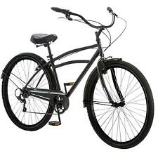 "29"" Men's Cruiser Bike Schwinn Black Steel Frame Classic Bicycle Fenders 7 Speed"