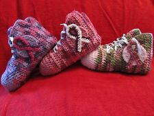 Crochet High Top Sneaker Slippers/Socks in Teen/Women Cancer Ribbons - Handmade